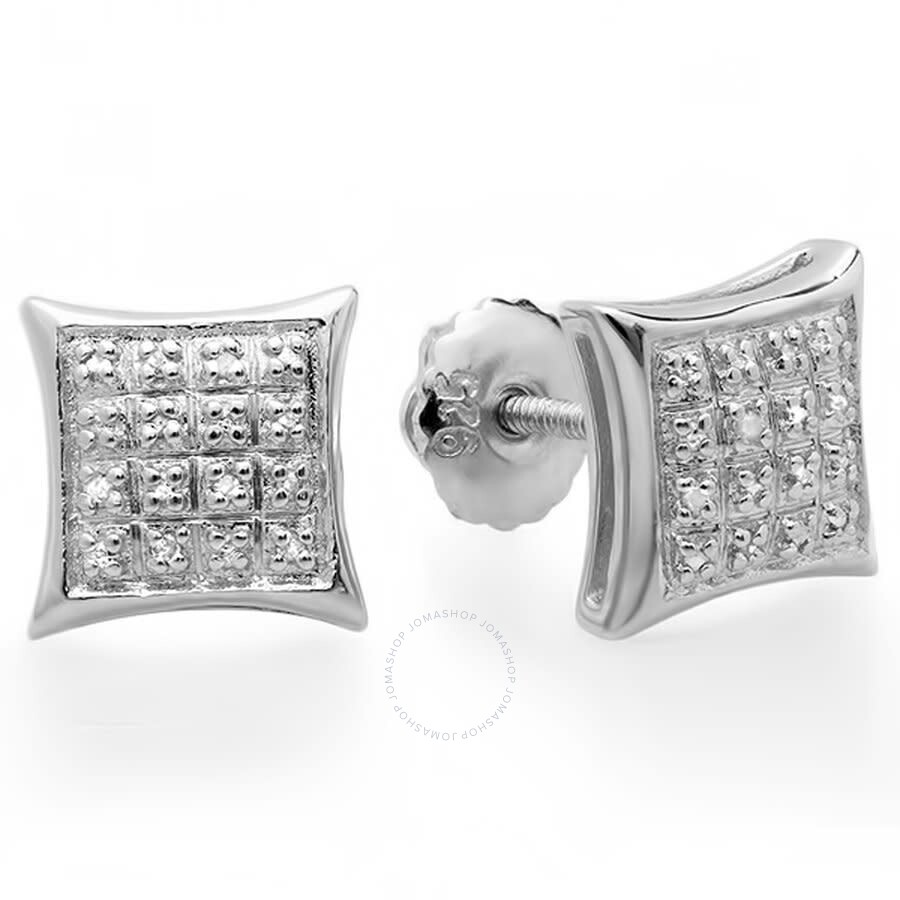 ctw Dazzlingrock Collection 0.06 Carat Sterling Silver White Diamond V Prong Square Mens Hip Hop Iced Stud Earrings