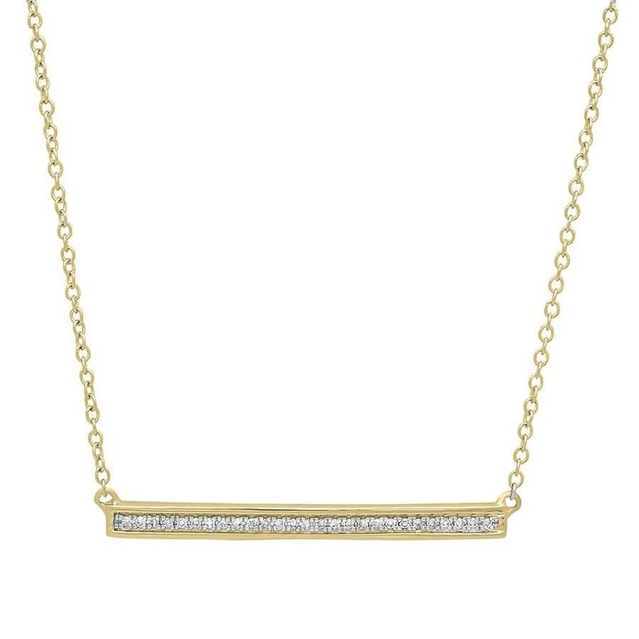 0.10 CT 14K White Gold Round Cut Diamond Ladies Bar Shape Fashion Pendant