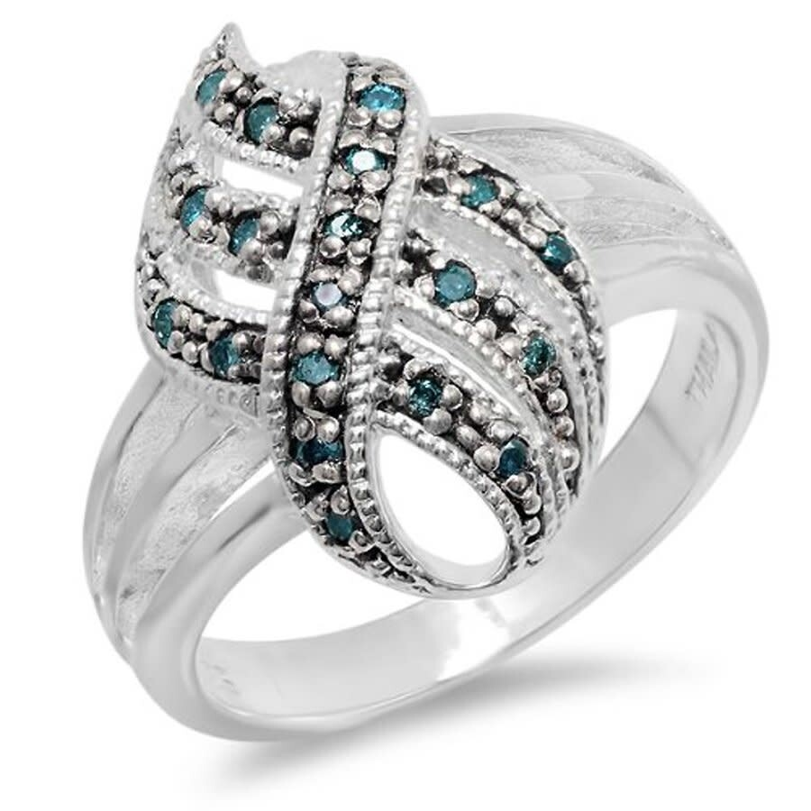 Dazzling Rock Dazzlingrock Collection 0 20 Carat Ctw Round Blue Real Diamond Right Hand Cocktail Ring Sterling Silver Dazzling Rock Ladies Jewelry Jewelry Jomashop