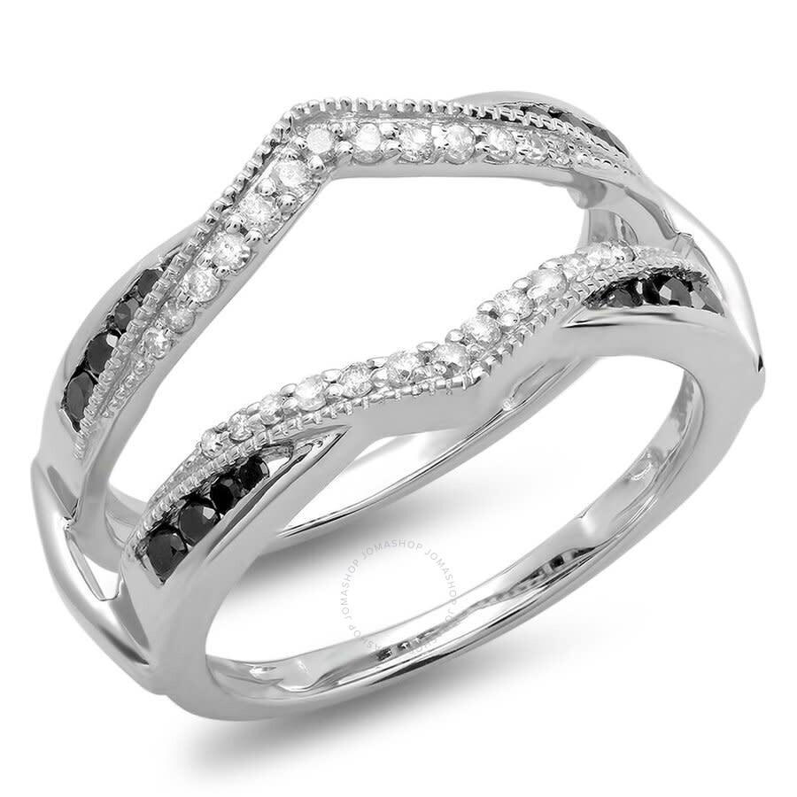 Dazzlingrock Collection 0.52 Carat 10K Gold White Diamond Ladies Anniversary Wedding Enhancer Guard Double Ring 1//2 CT ctw