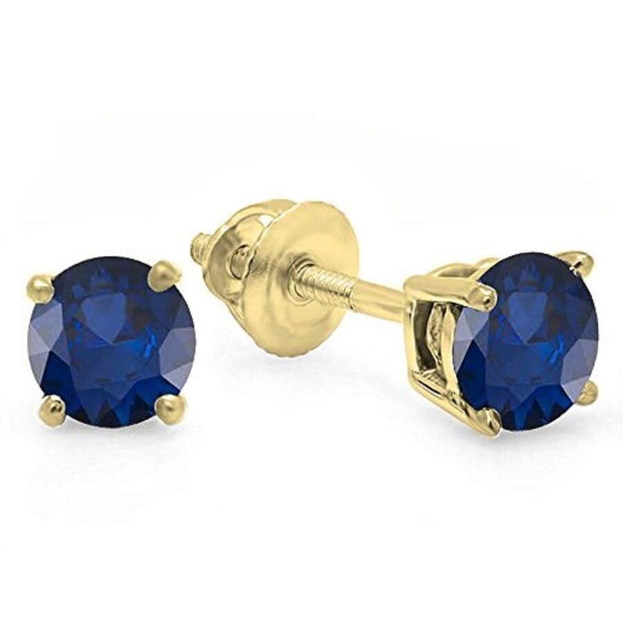 Round 5mm Genuine Blue Sapphire 10k Yellow Gold Stud Earrings