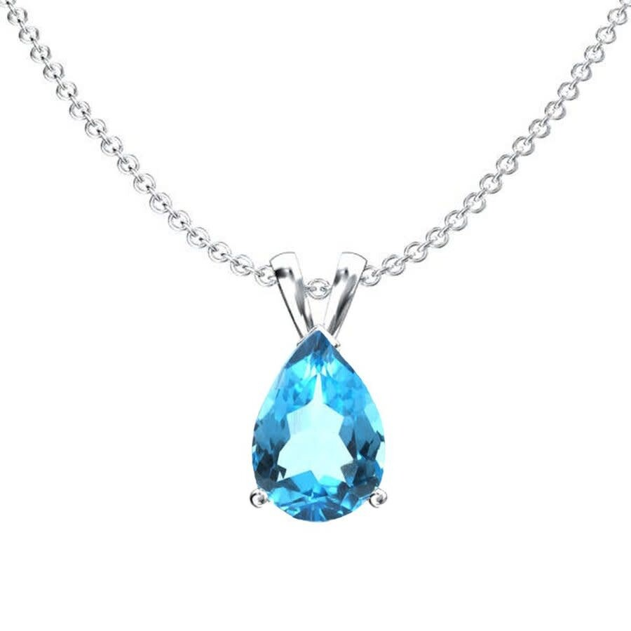 GLEENECKLAC Natural Blue Topaz Pendant 925 Sterling Silver Charm Fine Jewelry for Women with Box