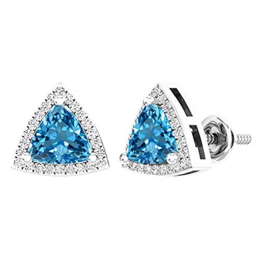 Blue topaz earrings,prong setting earrings,gold earrings,trillion earrings,triangle earrings,long dangle earrings