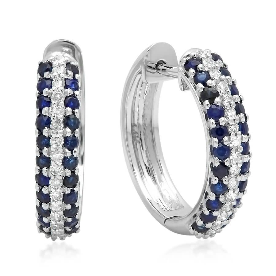 10K White Gold Round Blue Sapphire /& White Diamond Ladies Hoop Earrings