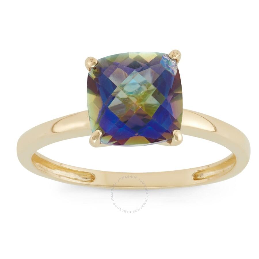 Diamante 10k Yellow Gold Cushion Cut Genuine Mystic Blue Topaz Solitair Ring