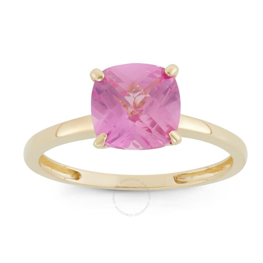 Diamante 10k Yellow Gold Cushion Cut Lab Created Pink Sapphire Solitair Ring