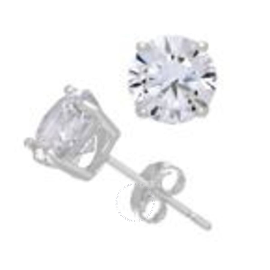 tout neuf 7ba35 60fd3 Diamanté 14K White Gold 7 mm Swarovski Zirconia Round Cut Stud Earrings