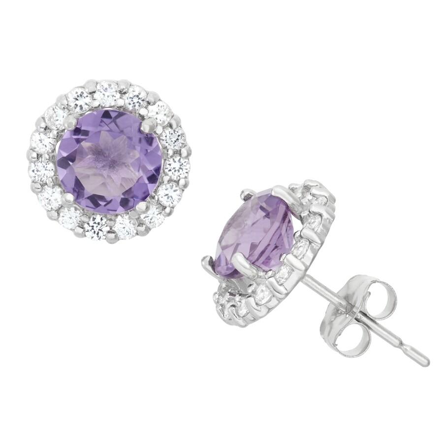 Diamanté 14k White Gold Amethyst Halo Stud Earrings