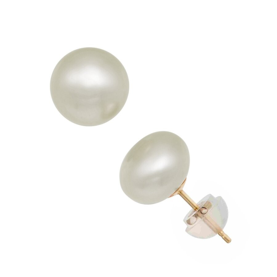 Diamanté 14k Yellow Gold 10mm Freshwater Pearl Stud Earrings