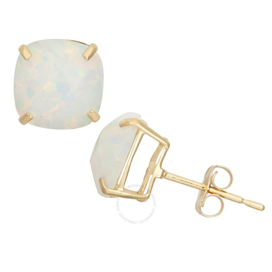 Diamanté 14k Yellow Gold Created Opal Stud Earrings