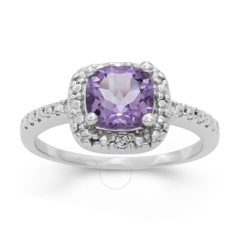 617fb7d2bad9f Diamanté Sterling Silver Amethyst Diamond Accent Ring
