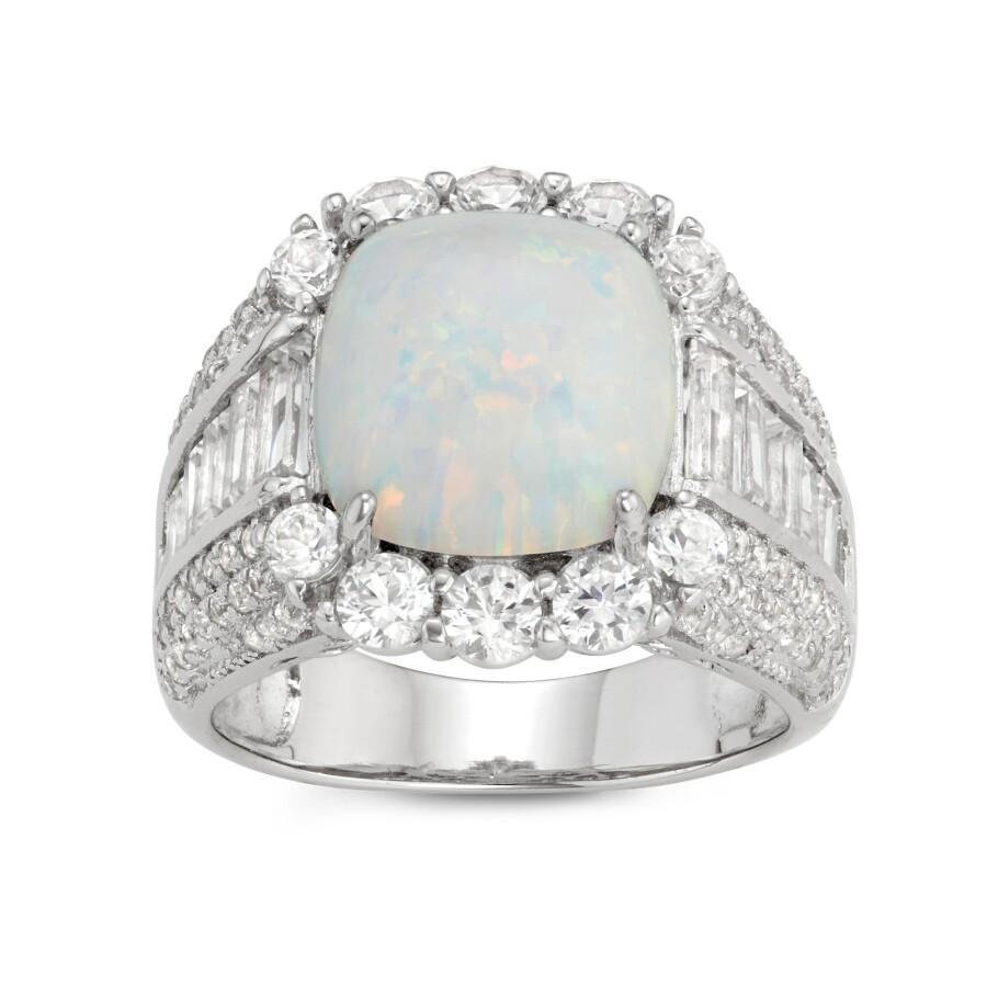 Diamante Sterling Silver Cushion Cut Created Opal Halo Ring