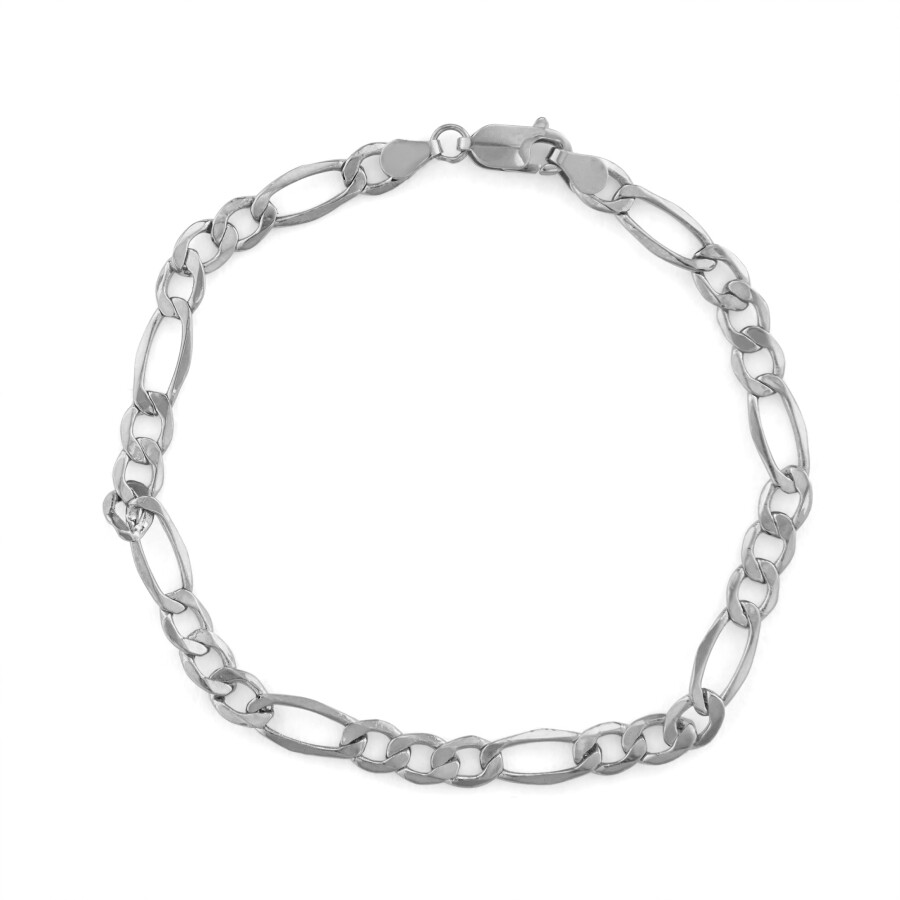 Diamante 14k White Gold Men S Figaro Bracelet