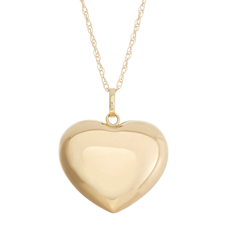 14K Yellow Gold Polished Puffed Heart Pendant