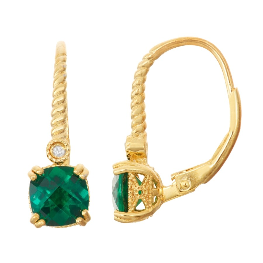 Diamante Gold Over Silver Diamond Accent Cushion Cut Emerald Earrings