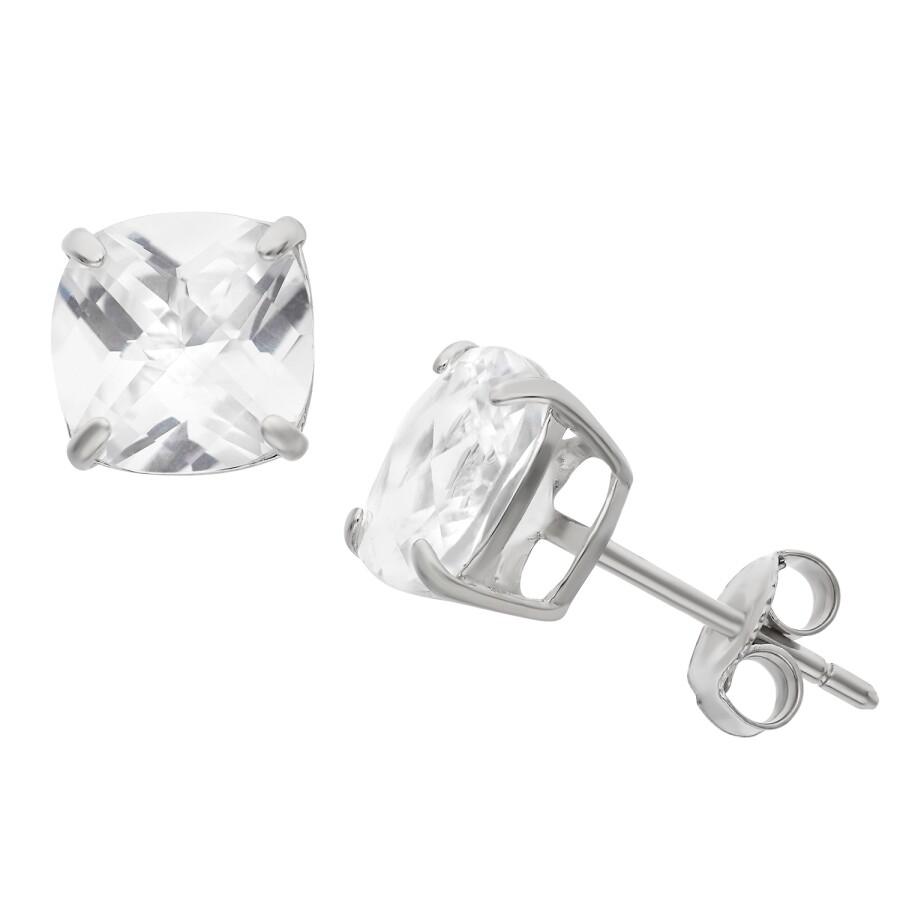 Diamante Sterling Silver 8mm Cushion Cut White Shire Earrings
