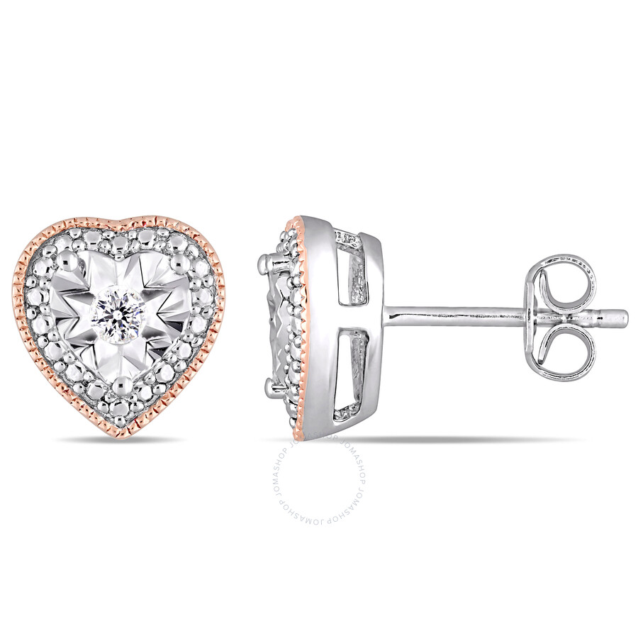 efdb9c975 Diamond Milgrain Filigree Heart Shaped Stud Earrings in 2 Tone White and Rose  Plated Sterling Silver ...