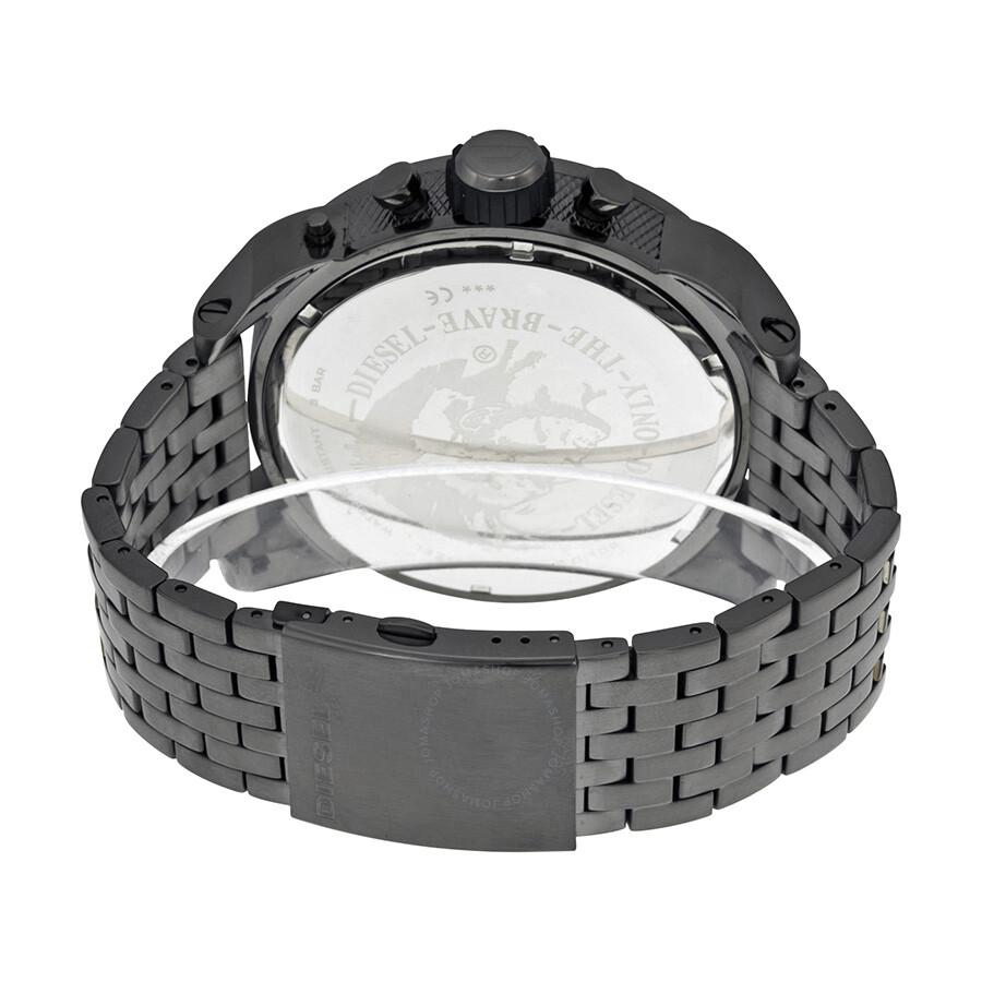 Diesel Badass Oversized Gray Dial Gunmetal PVD Men's Watch