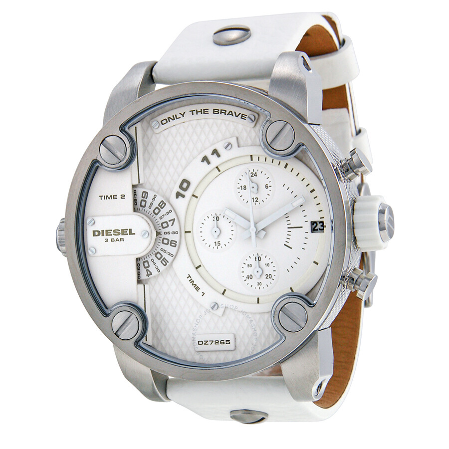 diesel bass ass chronograph white dial white leather men 39 s watch dz7265 diesel watches. Black Bedroom Furniture Sets. Home Design Ideas