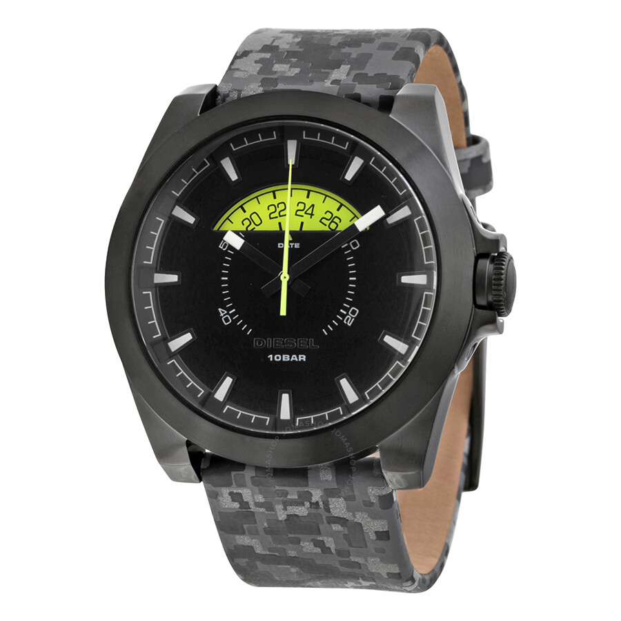 Diesel black dial camo leather men s watch dz1658