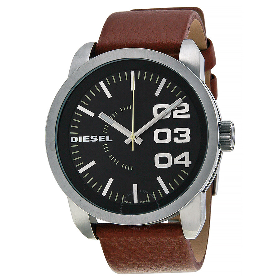 Diesel black dial tan leather strap men 39 s watch dz1513 diesel watches jomashop for Black tan watch