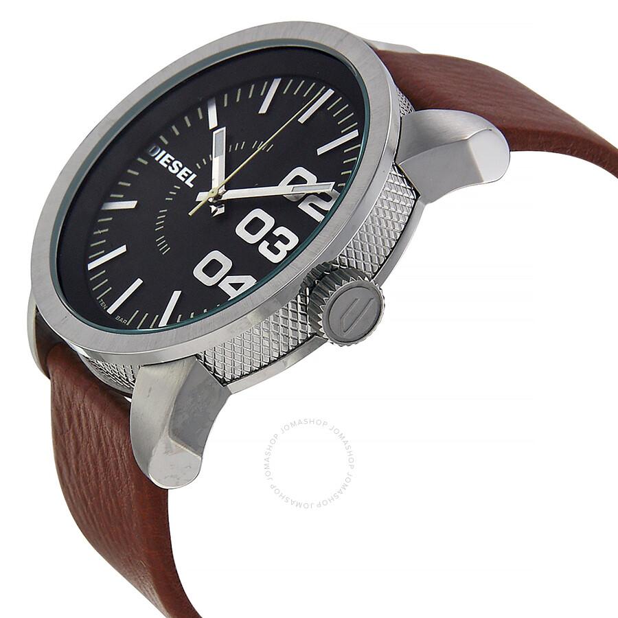 Diesel black dial tan leather strap men 39 s watch dz1513 diesel watches jomashop for Black leather strap men