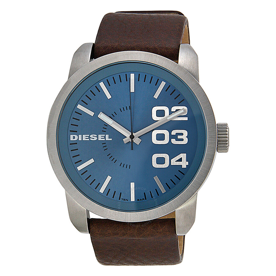 Leather Gmbh Contact Us Email Sales Mail: Diesel Blue Dial Brown Leather Strap Men's Watch DZ1512