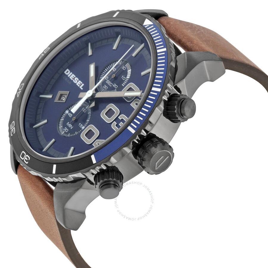 diesel double down blue dial brown leather men s quartz watch dz4312