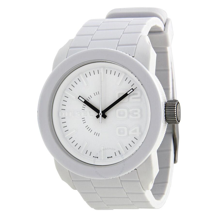 Diesel double down white rubber men 39 s watch dz1436 diesel watches jomashop for Rubber watches