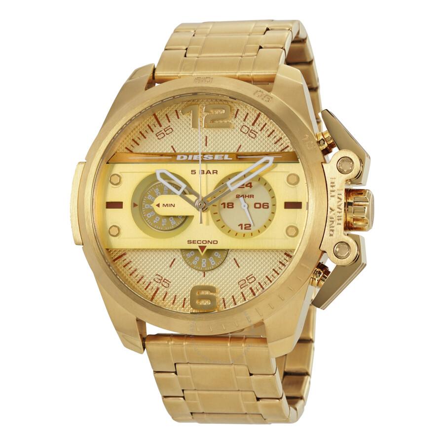 diesel ironside chronograph gold dial mens watch dz4377