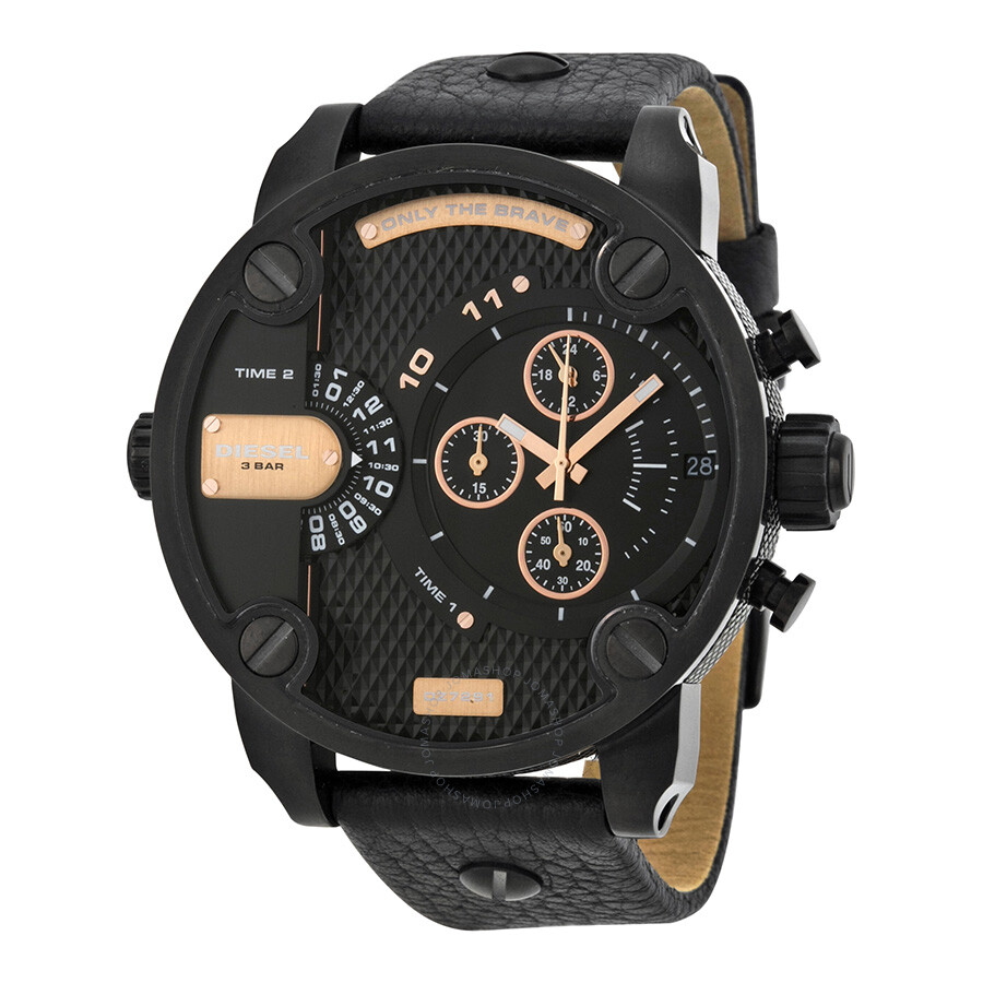 diesel little daddy dual time chronograph black dial leather men s diesel little daddy dual time chronograph black dial leather men s watch dz7291