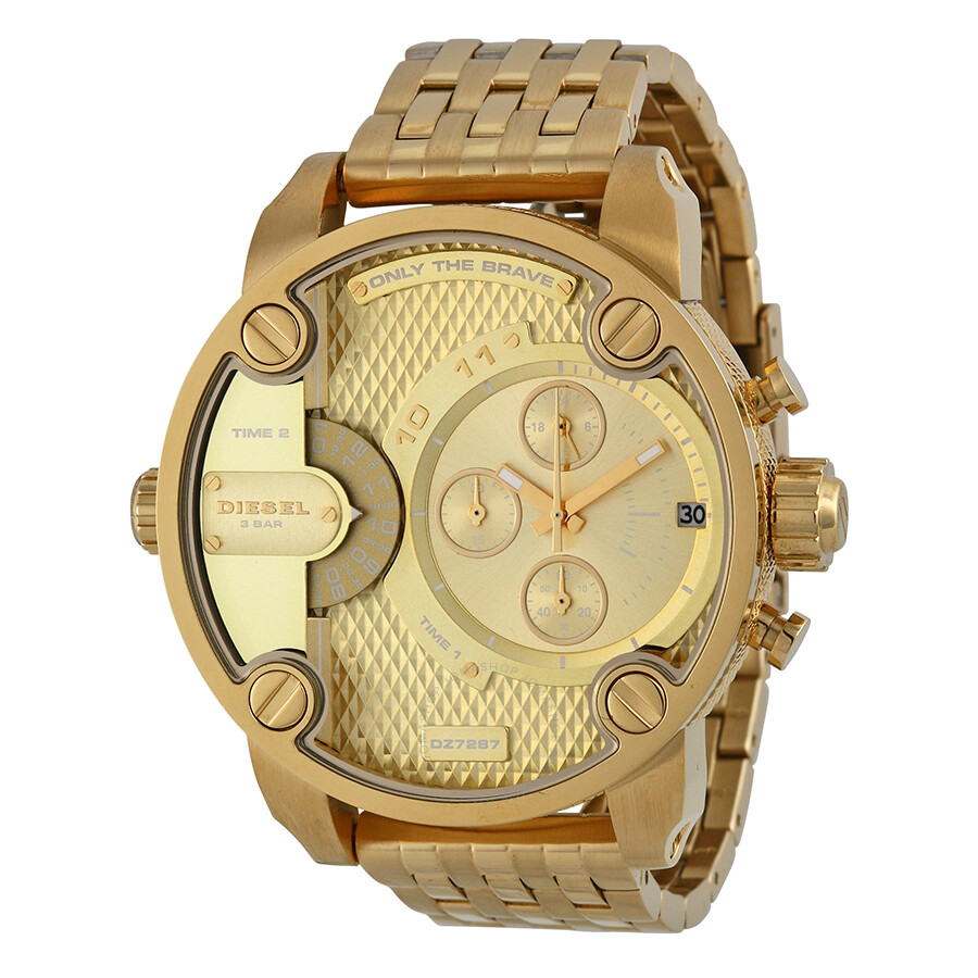 Diesel Little Daddy Dual Time Chronograph Gold-tone Dial Steel Men s Watch  DZ7287 ... d392e6e6f9