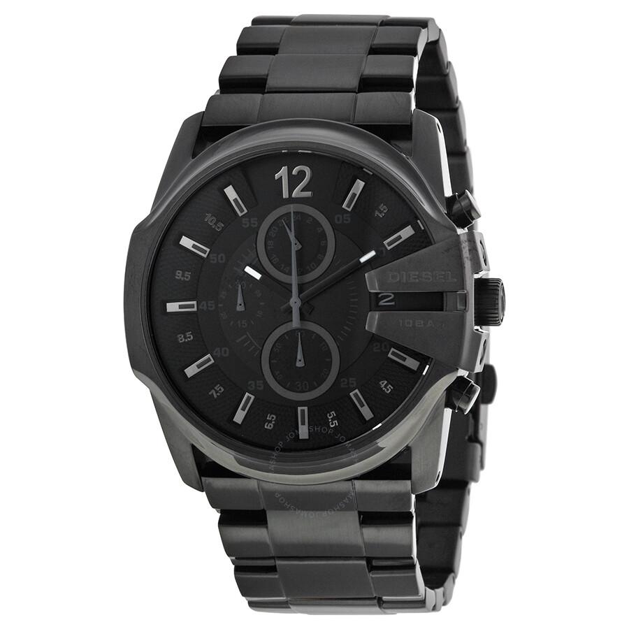 Diesel master chief black dial black stainless steel bracelet men 39 s watch dz4180 diesel for Stainless watches