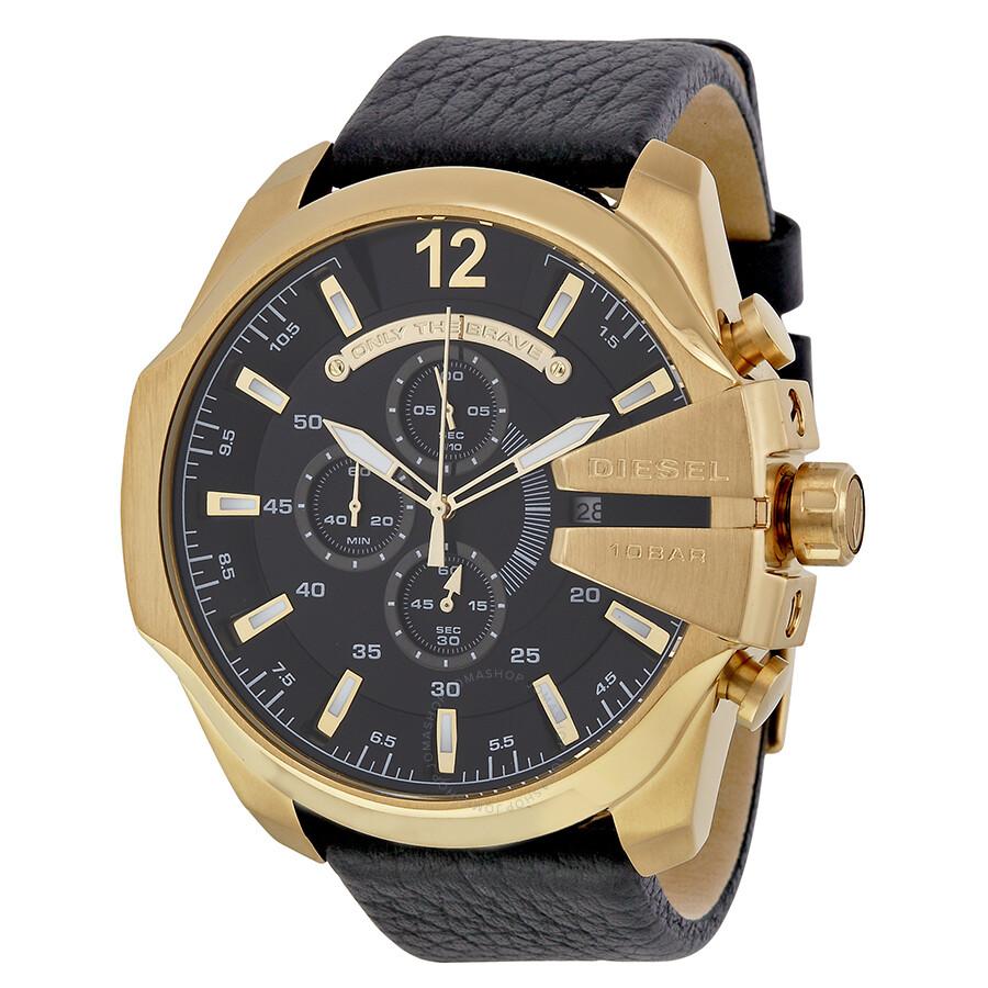 f07906e0e13d Diesel Mega Chief Black Dial Black Leather Men s Quartz Watch DZ4344 ...