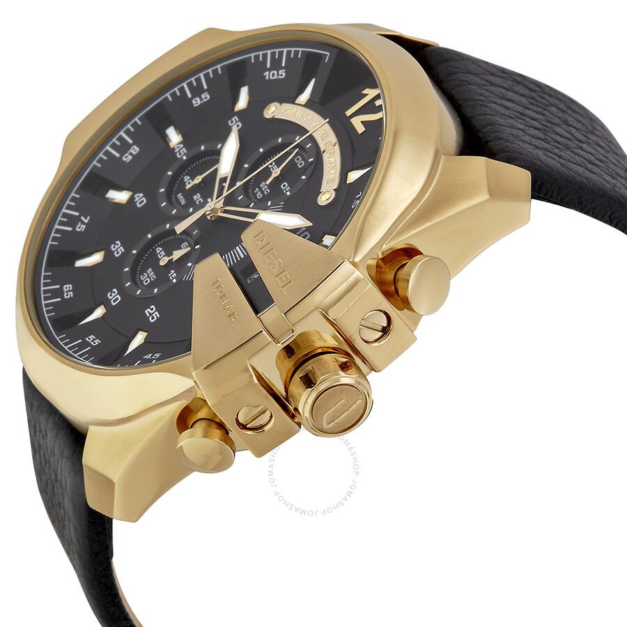 diesel mega chief black dial black leather men s quartz watch dz4344