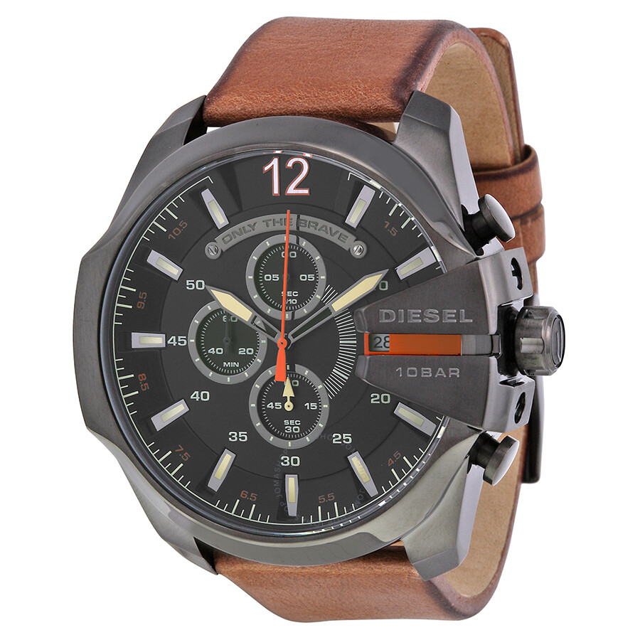 diesel mega chief black dial brown leather men 39 s quartz. Black Bedroom Furniture Sets. Home Design Ideas