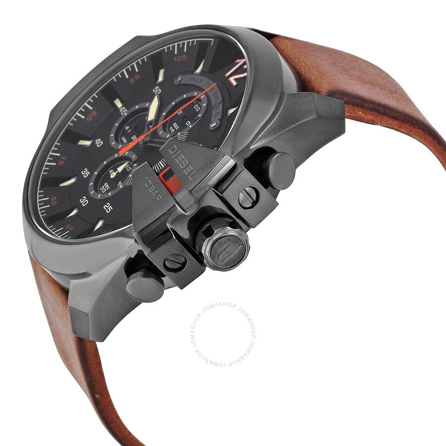 diesel mega chief black dial brown leather men s quartz watch dz4343