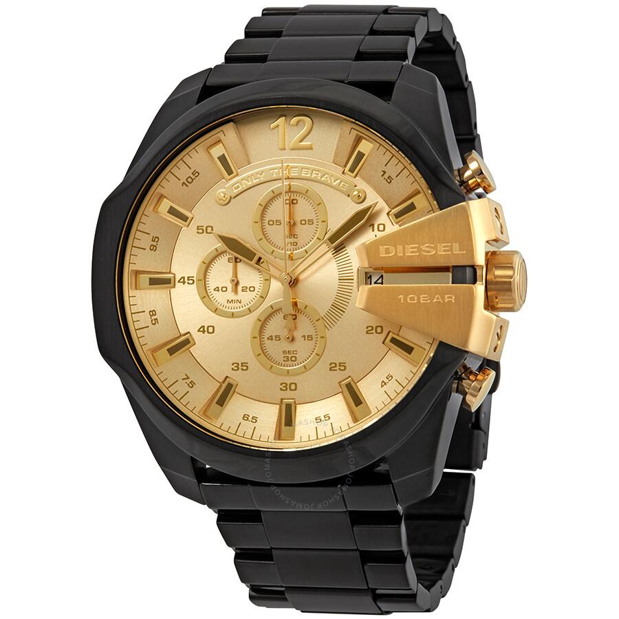 1a206f7f2 Diesel Mega Chief Chronograph Gold Dial Men's Watch DZ4485 - Diesel ...