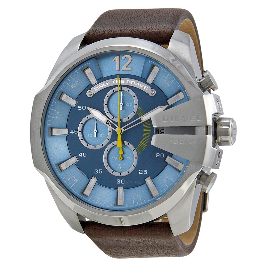 f9b2c3ae7 Diesel Mega Chief Chronograph Light Blue Dial Brown Leather Men's Watch  DZ4281 ...