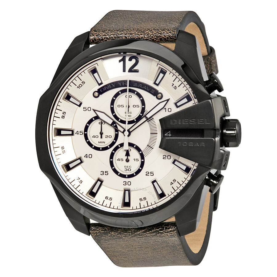 diesel mega chief white sunray dial men s chronograph watch dz4422