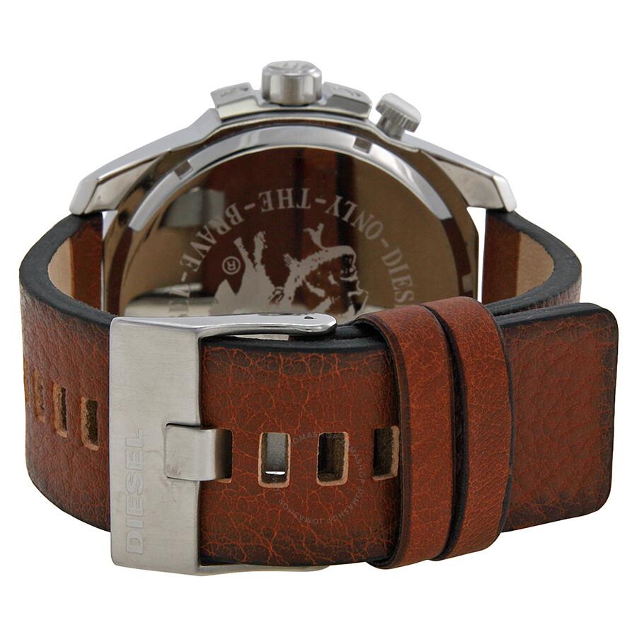 diesel mega chief world time black dial brown leather men s watch dz4321