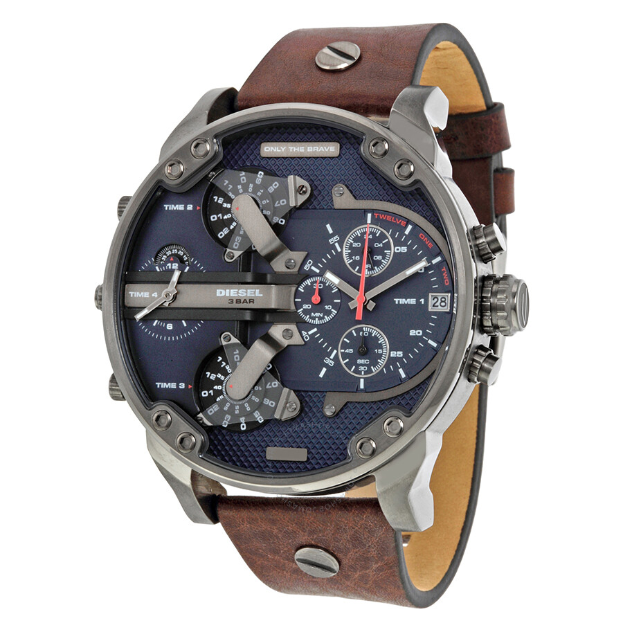 diesel mr daddy dual time chronograph navy blue dial leather men 39 s watch dz7314 diesel