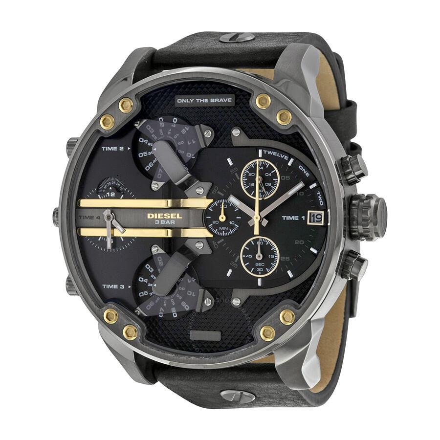 diesel mr daddy 2 0 black dial black leather men s watch dz7348