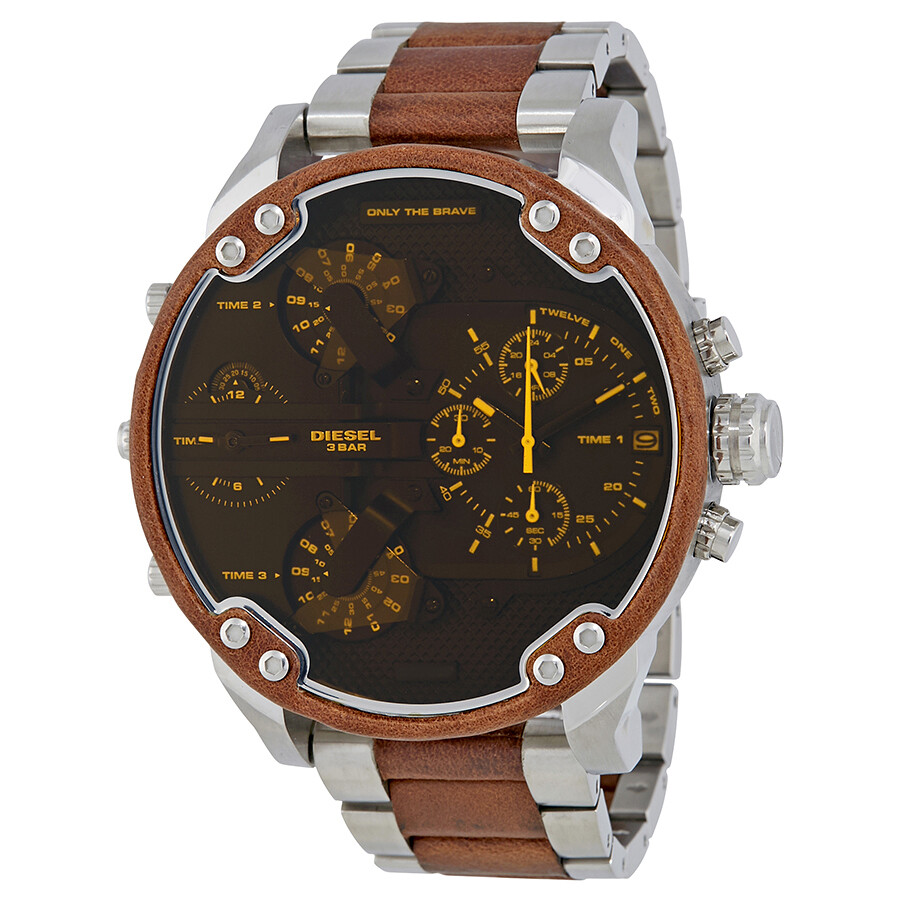 diesel mr daddy 2 0 brown dial men 39 s two tone chronograph. Black Bedroom Furniture Sets. Home Design Ideas