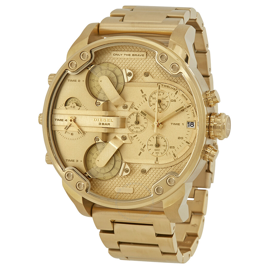 diesel mr daddy 20 chronograph gold dial mens watch