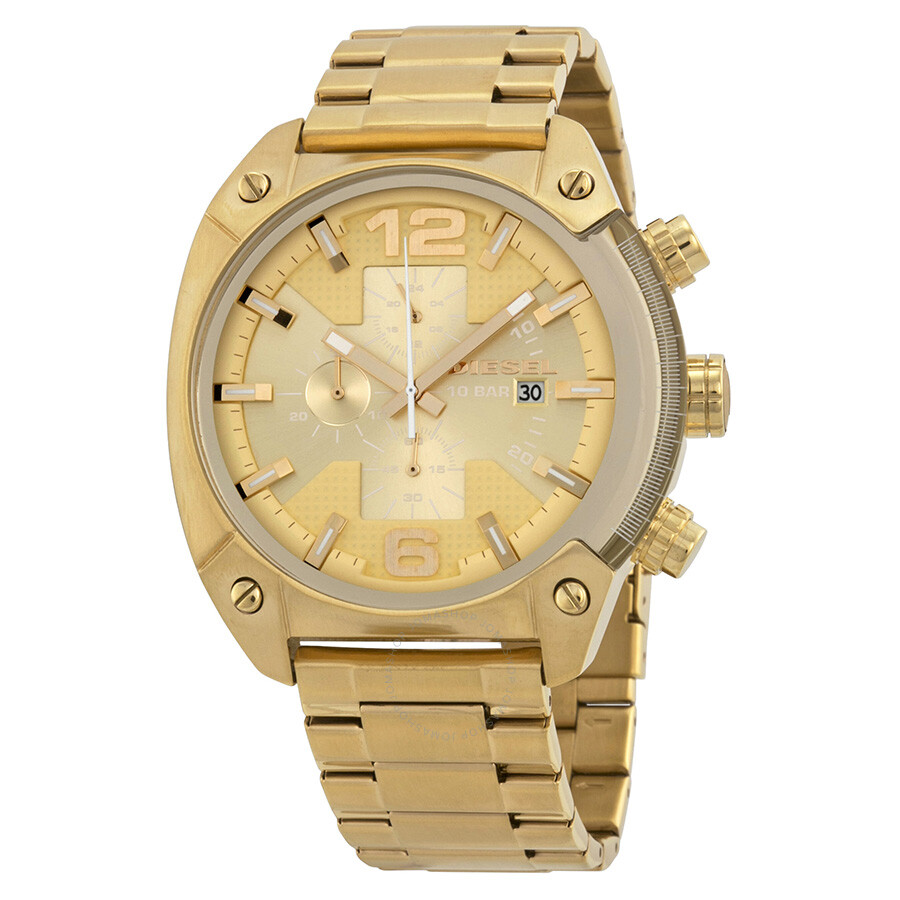 diesel overflow chronograph chagne gold tone s