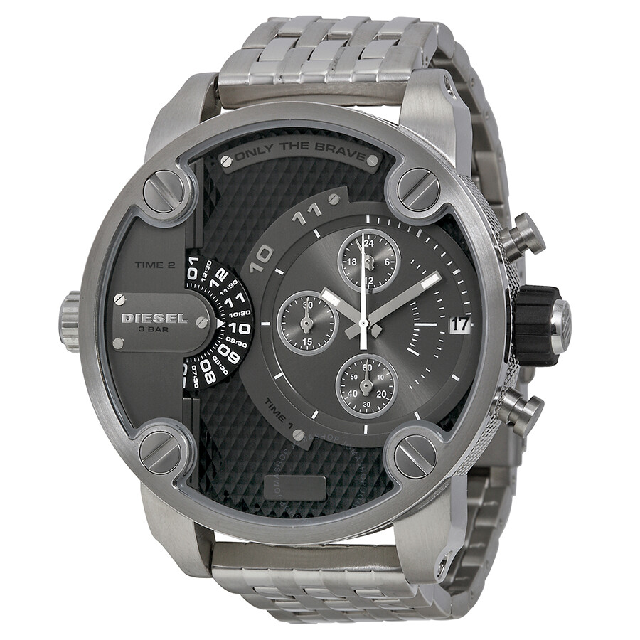 Diesel sba dual time chronograph grey dial stainless steel men 39 s watch dz7259 diesel watches for Stainless steel watch
