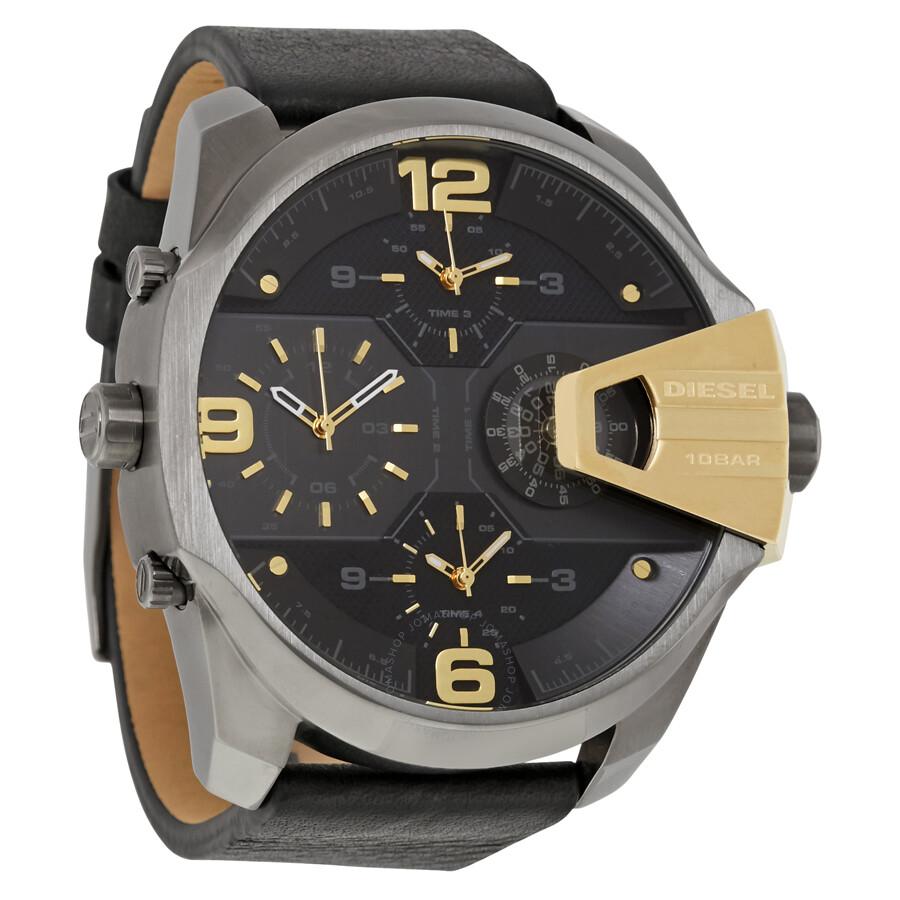 diesel watches jomashop diesel uber chief black dial black leather men s watch