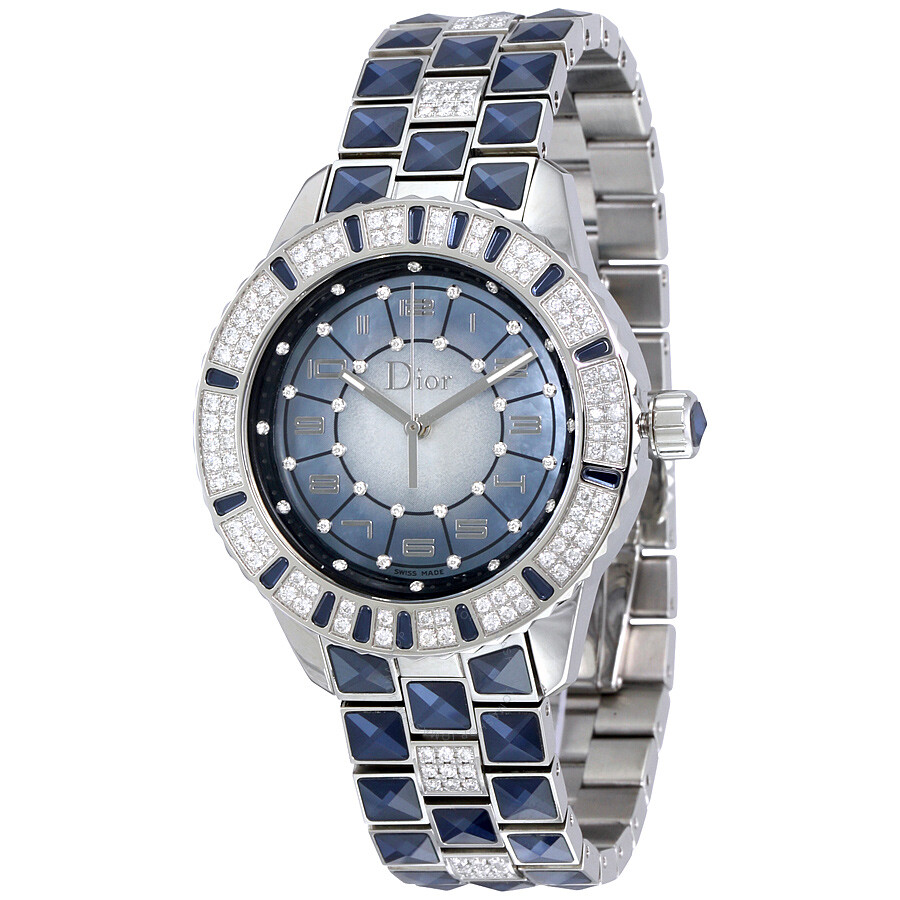 Dior christal blue mother of pearl dial ladies watch cd114510m001 dior watches jomashop for Mother of pearl dial watch