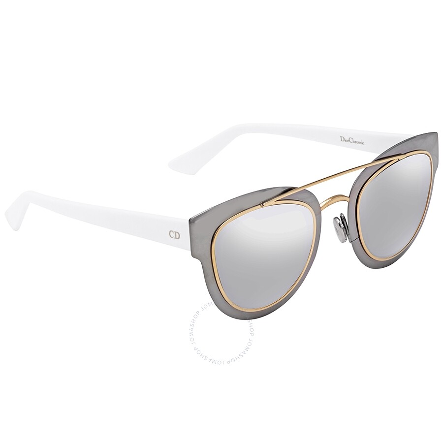 3df1ad790ca Dior Chromic Light Grey Silver Mirror Cat Eye Ladies Sunglasses DIORCHROMIC  LMJ/96 47 ...